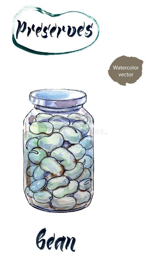 Boiled white kidney beans in glass jar, watercolor hand drawn vector illustration stock illustration