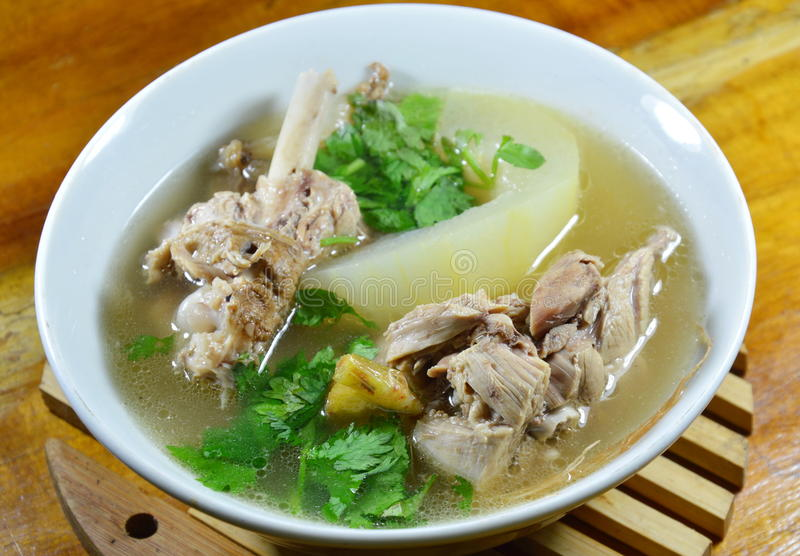 Boiled winter melon with duck soup on bowl royalty free stock images