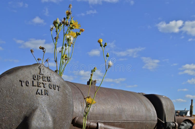 Boiler of an old steam engine royalty free stock image