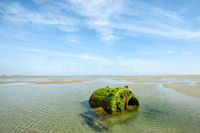 Boiler op zandspit - Hayling-Eiland stock fotografie