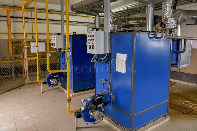 Boiler room of the enterprise. Gas boilers for heating stock image