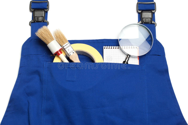 Boiler Suit Concept, Searching for a Handy Man, magnifying glass royalty free stock photography
