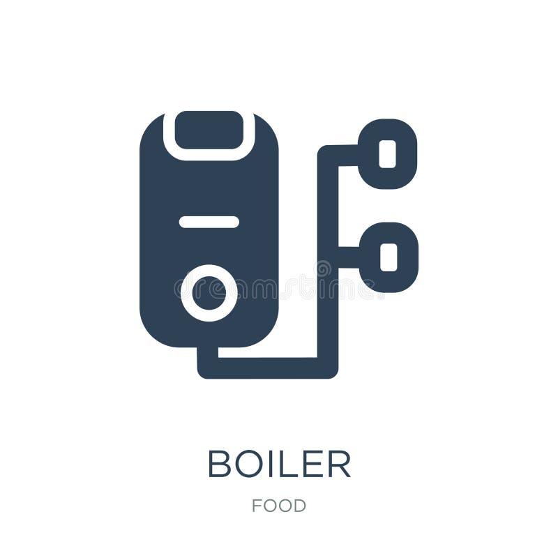 boilerpictogram in in ontwerpstijl boilerpictogram op witte achtergrond wordt geïsoleerd die eenvoudige en moderne vlakke symbool stock illustratie