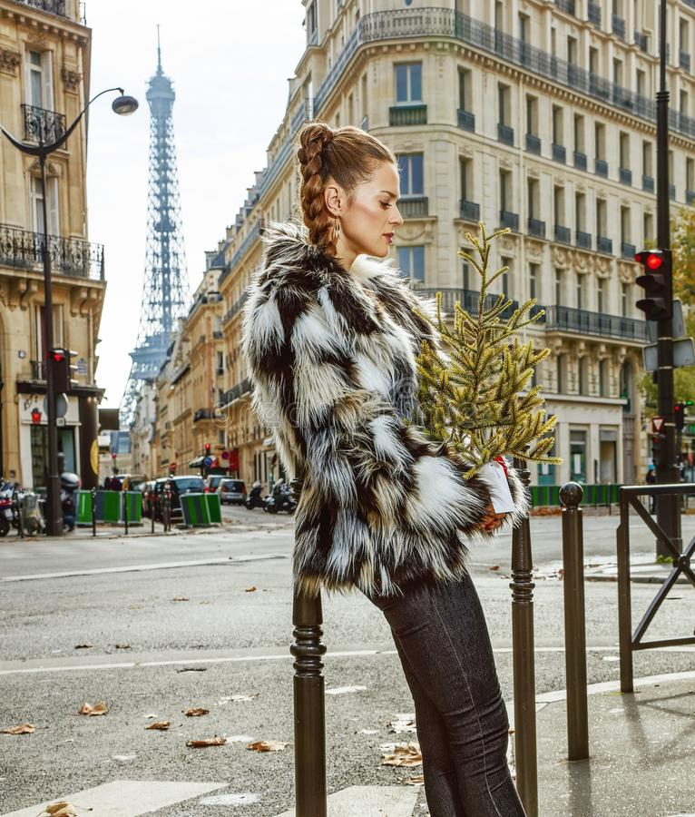 Relaxed trendy woman with Christmas tree in Paris, France. Boiling hot trendy winter in Paris. Portrait of relaxed trendy woman with Christmas tree in Paris royalty free stock photos