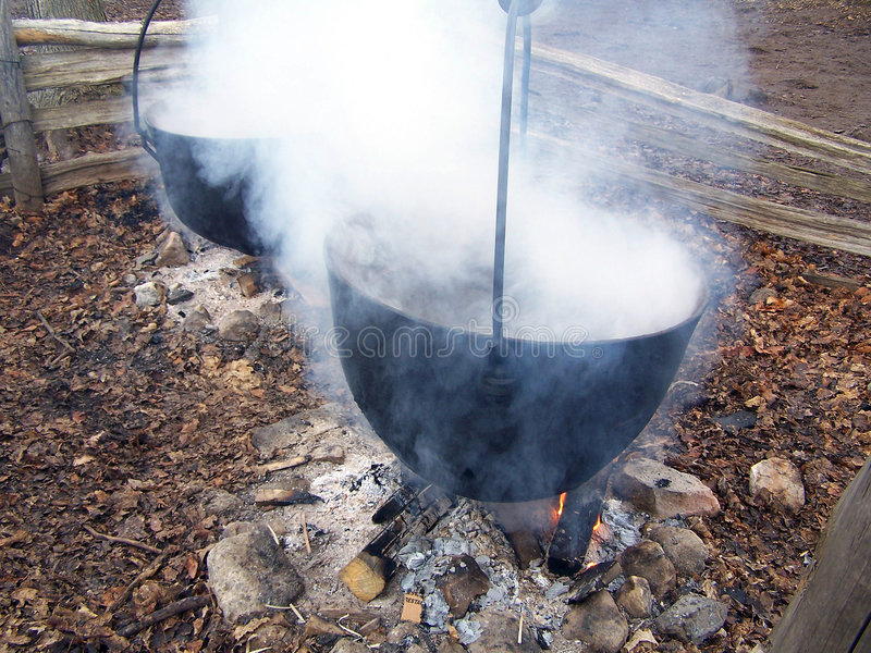 Boiling maple syrup stock photo