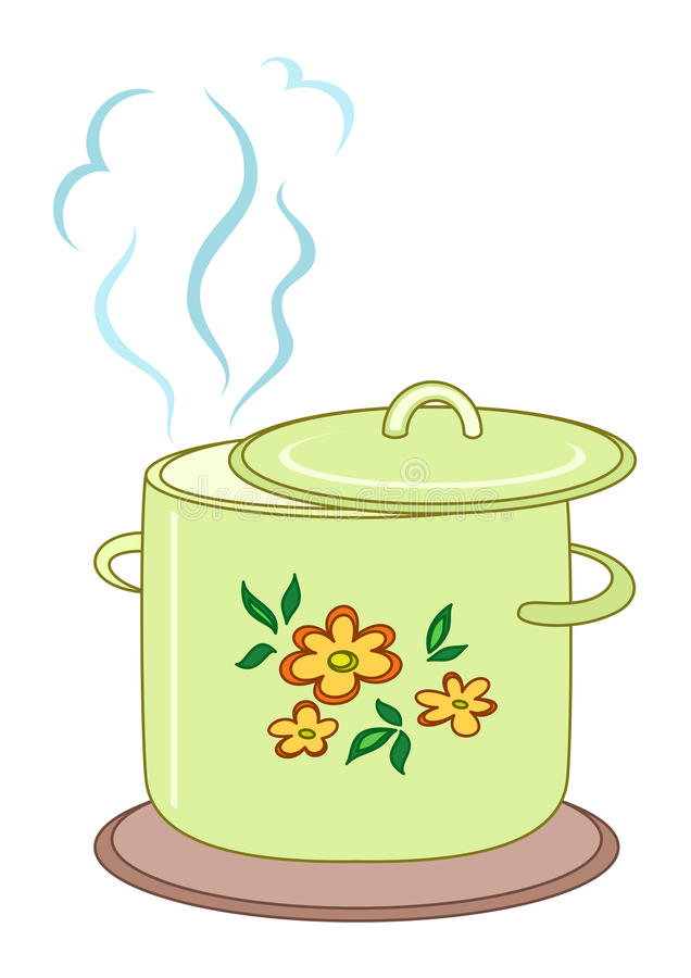 Boiling pan with pattern. Boiling pan with flower cover, steam and support stock illustration