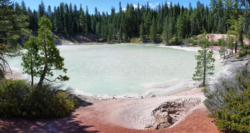 Boiling spring lake in Lassen Volcanic National Park. California royalty free stock photos