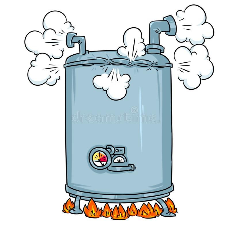 Boiling Steam Boiler cartoon illustration royalty free illustration