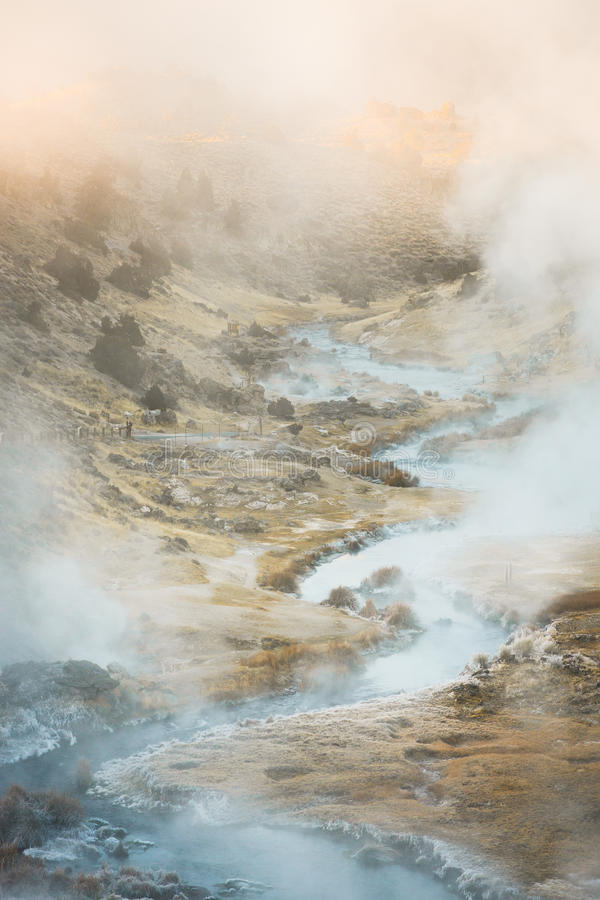 Boiling Volcanic Hot Creek Geological Site near Mammoth Lakes on a Winter Morning. Hot Creek, starting as Mammoth Creek, is a stream in Mono County of eastern stock photos