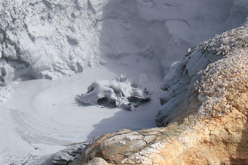 Boiling volcanic mud. Mud caldera at Hverir volcanic area, Northeast Iceland stock images