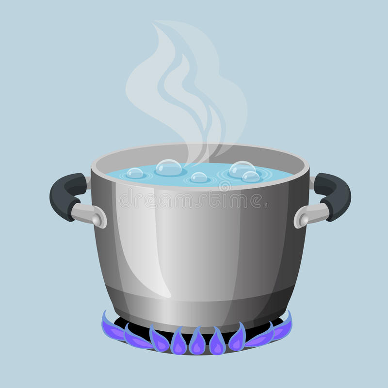 Free Boiling Water In Aluminium Pot On Gas Flame Realistic Vector Illustration Royalty Free Stock Images - 93398579