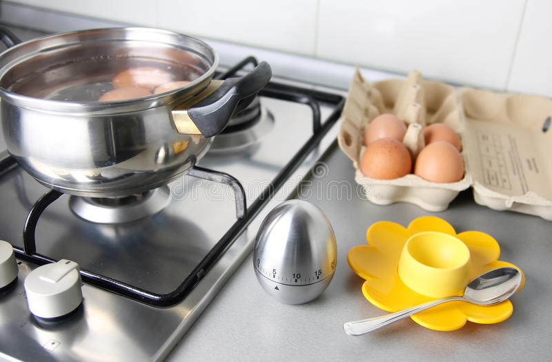 Download Boilling eggs stock image. Image of kitchen, spoon, color - 22757001