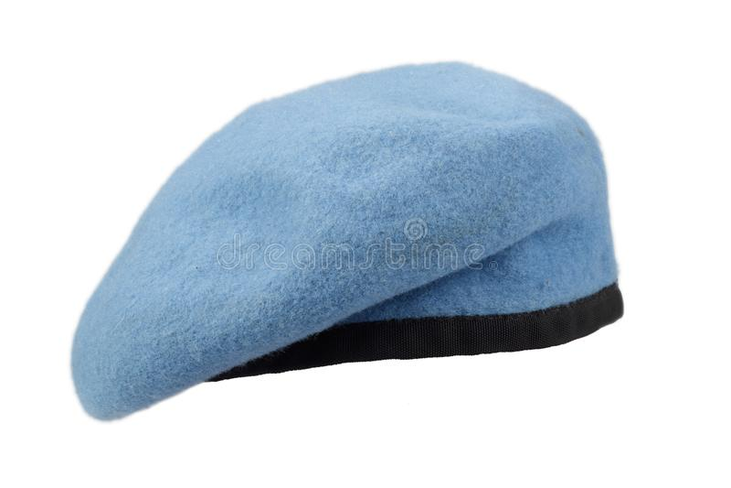 Boina do azul das tropas do Peacekeeping de United Nations imagem de stock royalty free