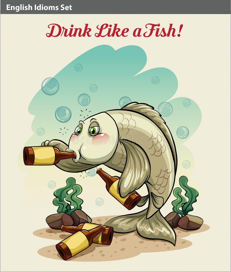 Boire comme un idiome de poissons illustration de vecteur