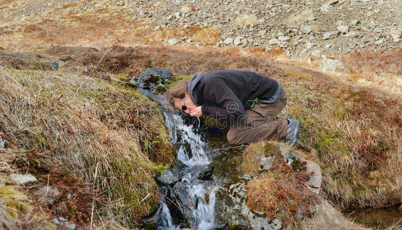 Boire d'un courant en Islande images libres de droits