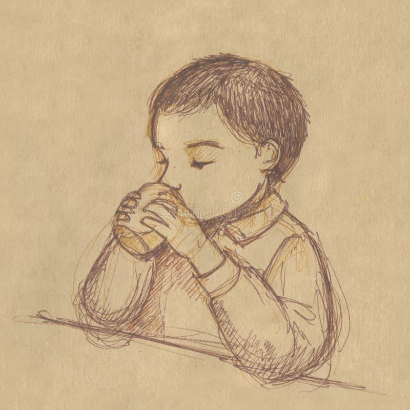 Boire de gosse - croquis sur le papier de sépia illustration stock