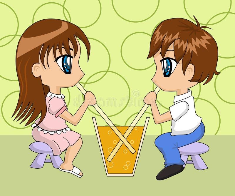 Boire mignon de couples de dessin animé illustration de vecteur