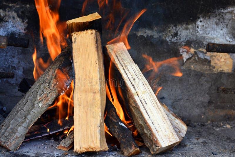 Bois brûlant photographie stock libre de droits