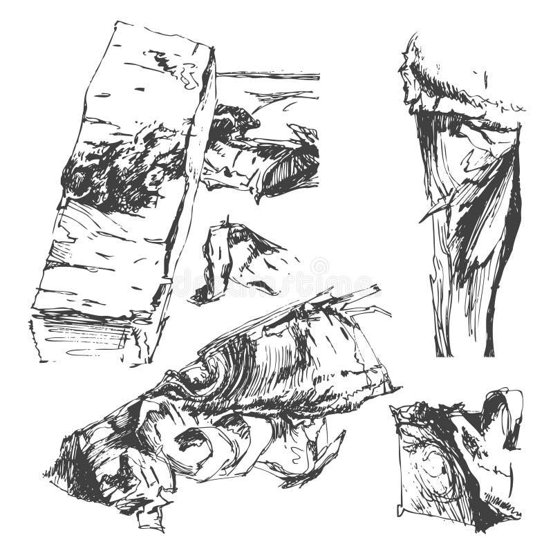 Bois de chauffage d'isolement sur un fond blanc Ensemble de vecteur, croquis illustration libre de droits