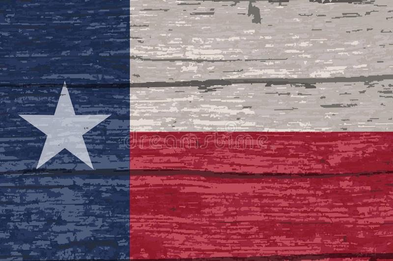 Bois de construction de Texas State Flag On Old illustration stock