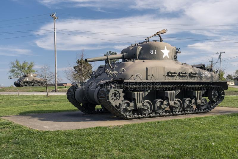 BOIS DE LÉONARD DE FORT, MOIS 29 AVRIL 2018 : Véhicule militaire Sherman Flame Tank photos libres de droits