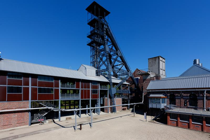 Bois du Cazier, lift tower coal mine, Marcinelle, Charleroi, Belgium stock photos