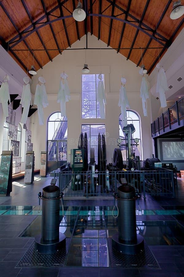 Bois du Cazier, mina de carvão do salão da fábrica, Marcinelle, Charleroi, Bélgica fotografia de stock royalty free
