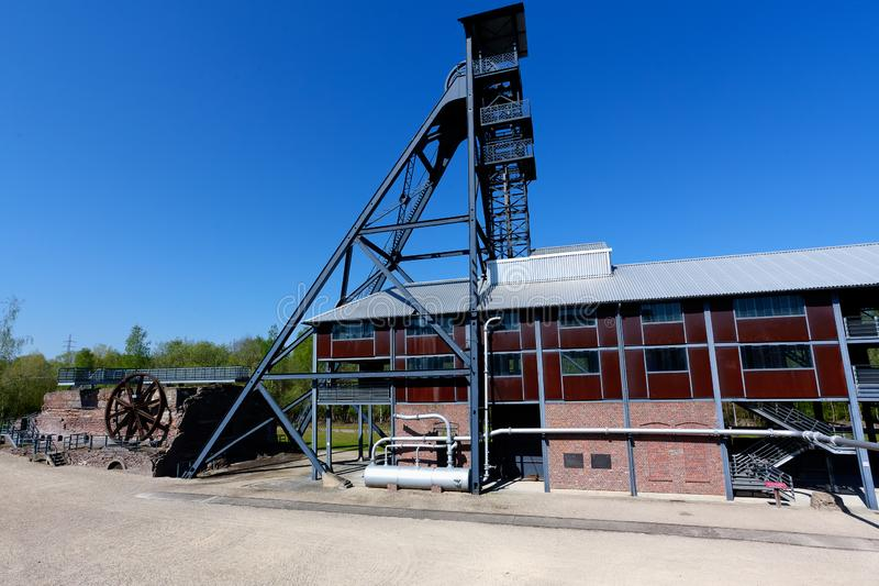 Bois du Cazier, mina de carv?o da torre do elevador, Marcinelle, Charleroi, B?lgica imagem de stock