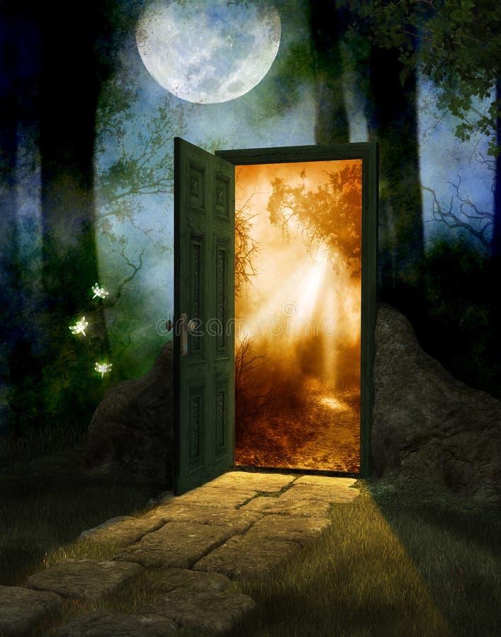 Bois féerique magique avec la porte au nouveau monde photo stock