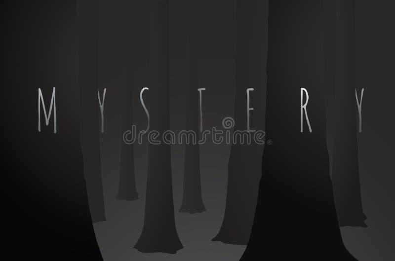 Bois foncés de mystère avec le brouillard noir d'arbre illustration stock