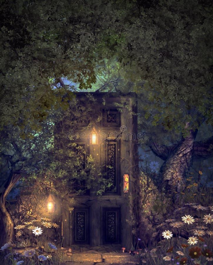 Bois magique de monde imaginaire avec une porte cachée image libre de droits