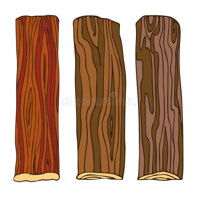 Bois, panneau bordé pour la conception en bois de modèle, cadre Dessin de main dans le style de croquis Objets d'isolement sur un illustration de vecteur
