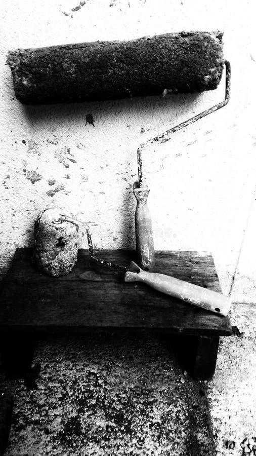 Bois peint de mur de mortier photo libre de droits