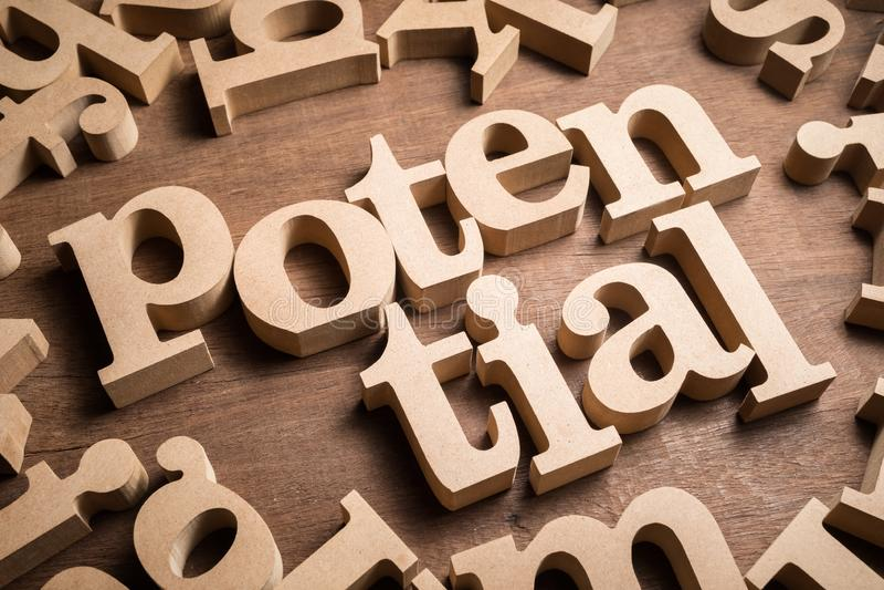 Bois potentiel Word photo stock