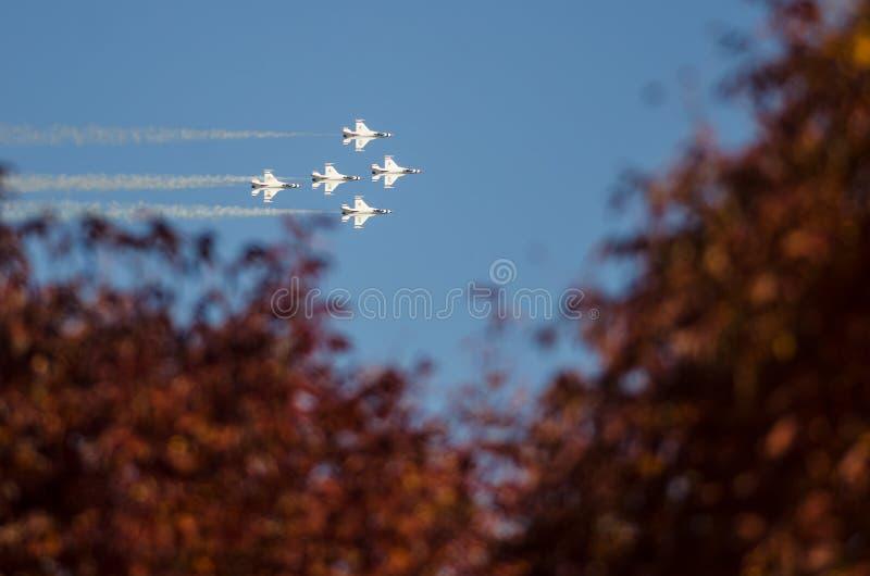 Boise, Айдахо, †«15-ое октября 2017 США Буревестники USAF выполняя на Gowen гремят airshow 15-ого октября 2017 стоковая фотография rf