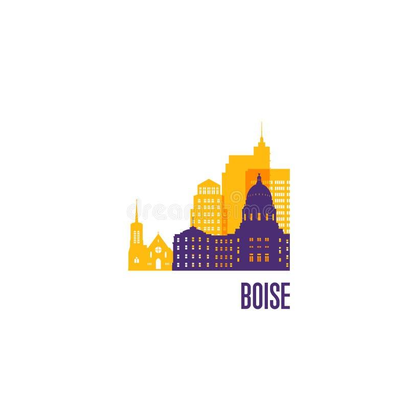 Boise city emblem. Colorful buildings. vector illustration