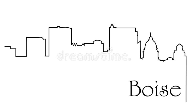 Boise city one line drawing abstract background with cityscape stock illustration