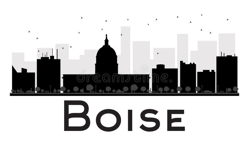 Boise City skyline black and white silhouette. stock illustration