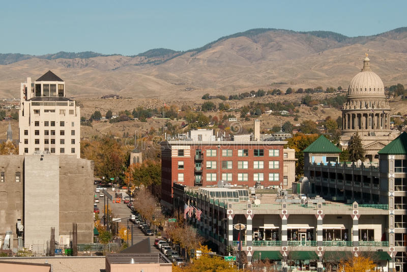 Boise, Idaho. This is a shot of downtown Boise, Idaho with the foothills in the background stock photos