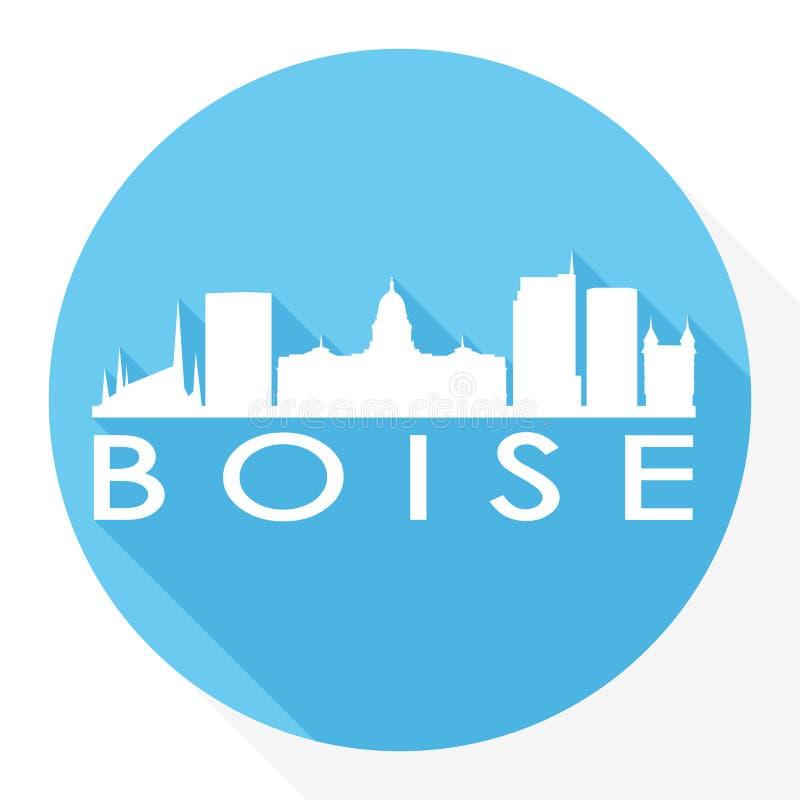 Boise Idaho Capital USA Round Icon Vector Art Flat Shadow Design Skyline City Silhouette Template Logo vector illustration