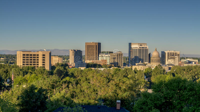 Boise idaho city skyline with americal flag stock image for Architects in boise idaho
