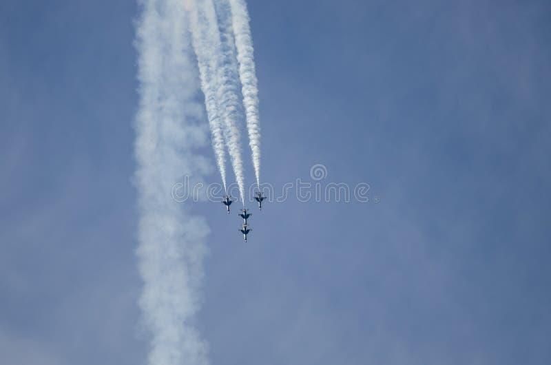 """Boise, Idaho, de V.S. †""""15 Oktober, 2017 De Luchtmacht van Verenigde Staten Thunderbirds die bij de Gowen-Donder Airshow preste royalty-vrije stock foto"""