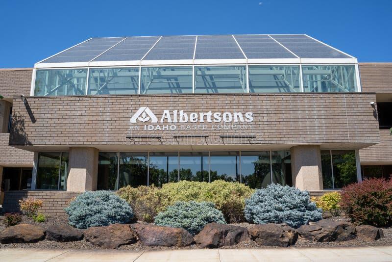 Boise, Idaho - Juli 14, 2019: Buitenkant van het Albertsons-collectieve die hoofdkwartier van de kruidenierswinkelopslag, in Idah stock afbeeldingen