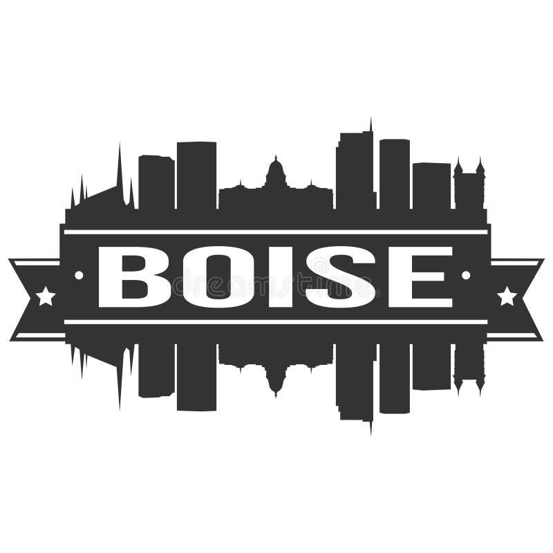 Boise Idaho Stany Zjednoczone Ameryka usa ikony sztuki projekta linii horyzontu miasta Wektorowej Płaskiej sylwetki Editable szab ilustracji