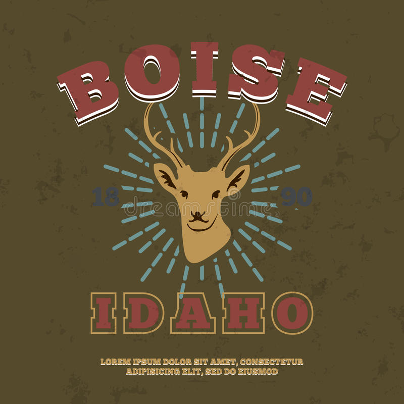 Boise, Idaho. t-shirt graphic print. Vector vector illustration