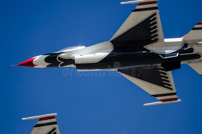 Boise, Idaho, USA – October 15, 2017. United States Air Force Thunderbirds performing at the Gowen Thunder Airshow. On October 15, 2017 royalty free stock photo