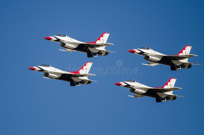 Boise, Idaho, USA – October 15, 2017. United States Air Force Thunderbirds performing at the Gowen Thunder Airshow. On October 15, 2017 stock photo