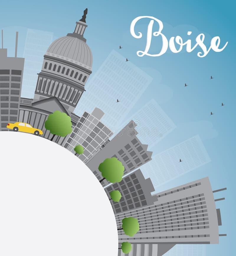 Boise linia horyzontu z Popielatą budynku, niebieskiego nieba i kopii przestrzenią, ilustracja wektor