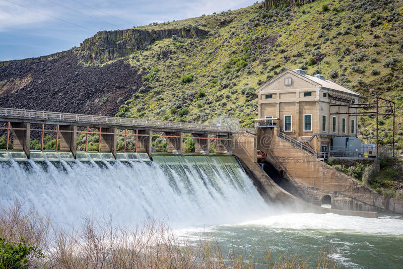 Boise river diversion dam with high spring runoff royalty free stock image
