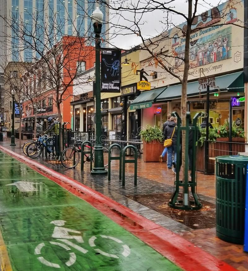 Boise& x27;s 8th Street. Downtown Boise on a December rainy afternoon royalty free stock images